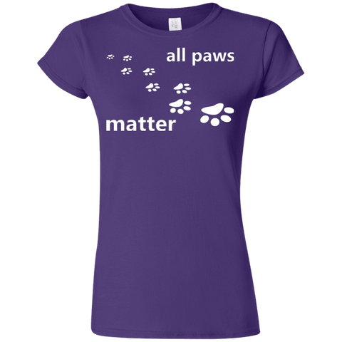 All Paws Matter - G640L Gildan Softstyle Ladies' T-Shirt Dark Purple Small - Little Pit Shop