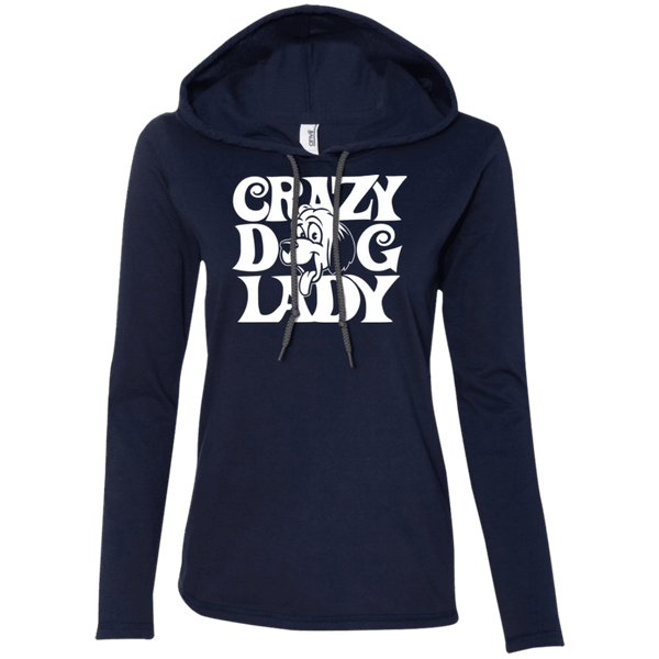 Crazy Dog Lady - 887L Anvil Ladies' LS T-Shirt Hoodie Navy/Dark Grey Small - Little Pit Shop