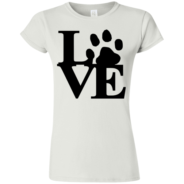 Love Paw - G640L Gildan Softstyle Ladies' T-Shirt Light White Small - Little Pit Shop