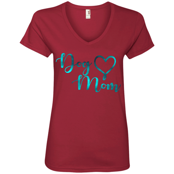 Dog Mom Teal Noise - 88VL Anvil Ladies' V-Neck T-Shirt Independence Red Small - Little Pit Shop