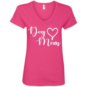Dog Mom White Text - 88VL Anvil Ladies' V-Neck T-Shirt Hot Pink Small - Little Pit Shop