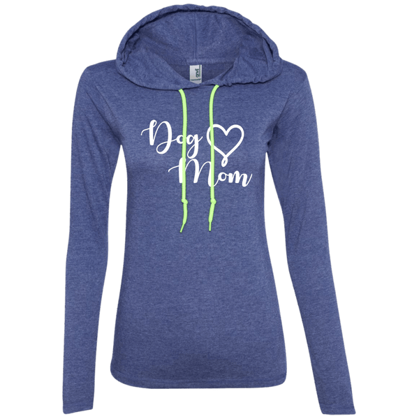 Dog Mom White Text - 887L Anvil Ladies' LS T-Shirt Hoodie Heather Blue/Neon Yellow Small - Little Pit Shop