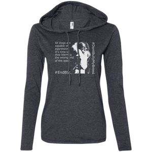 #EndBSL - 887L Anvil Ladies' LS T-Shirt Hoodie Heather Dark Grey/Dark Grey Small - Little Pit Shop