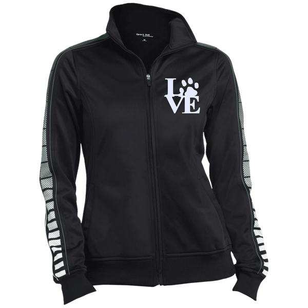 Love Paw Wht Embroidered - LST93 Sport-Tek Ladies' Dot Print Warm Up Jacket Black/Forest X-Small - Little Pit Shop