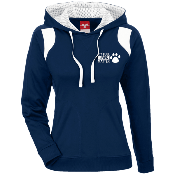 Pit Bull Lives Matter - TT30W Team 365 Ladies' Colorblock Poly Hoodie By Little Pit Shop Dark Navy/White X-Small - Little Pit Shop