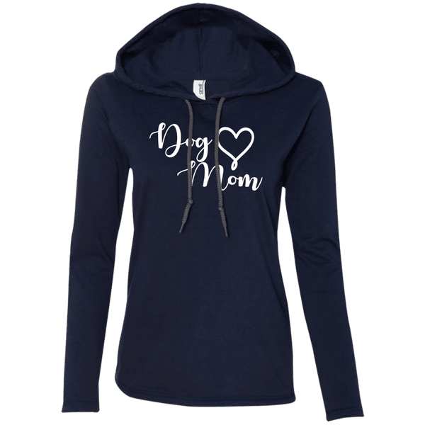 Dog Mom White Text - 887L Anvil Ladies' LS T-Shirt Hoodie Navy/Dark Grey Small - Little Pit Shop