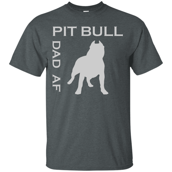 Pit Bull Dad AF - G200 Gildan Ultra Cotton T-Shirt Dark Heather Small - Little Pit Shop