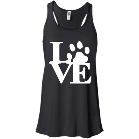 Love Wht Txt - B8800 Bella + Canvas Flowy Racerback Tank Black X-Small - Little Pit Shop