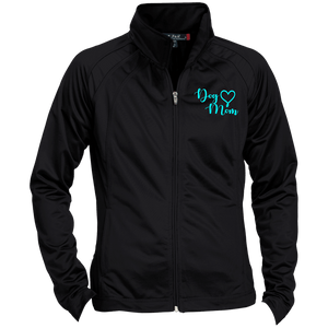 Dog Mom Teal Prnt - LST90 Sport-Tek Ladies' Raglan Sleeve Warmup Jacket Black/Black X-Small - Little Pit Shop