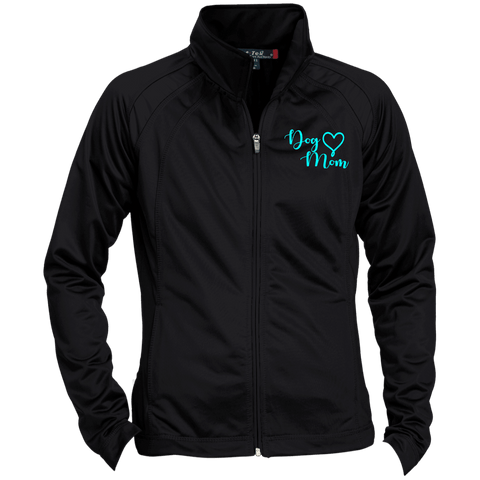 Dog Mom Teal Prnt - LST90 Sport-Tek Ladies' Raglan Sleeve Warmup Jacket, Jackets | Pit Bull T Shirts, Hoodies and more | Little Pit Shop