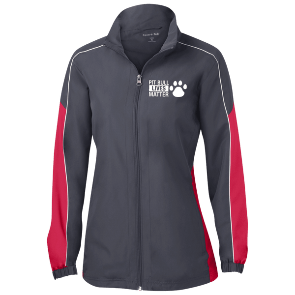 Pit Bull Lives Matter - LST61 Sport-Tek Ladies' Piped Colorblock Windbreaker by Little Pit Shop Graphite/True Red/White X-Small - Little Pit Shop