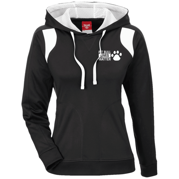 Pit Bull Lives Matter - TT30W Team 365 Ladies' Colorblock Poly Hoodie By Little Pit Shop Black/White X-Small - Little Pit Shop