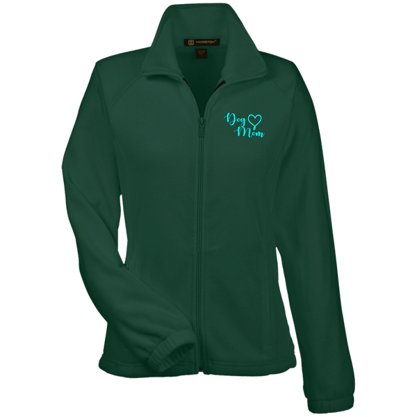 Dog Mom Teal Prnt - M990W Harriton Women's Fleece Jacket Hunter X-Small - Little Pit Shop