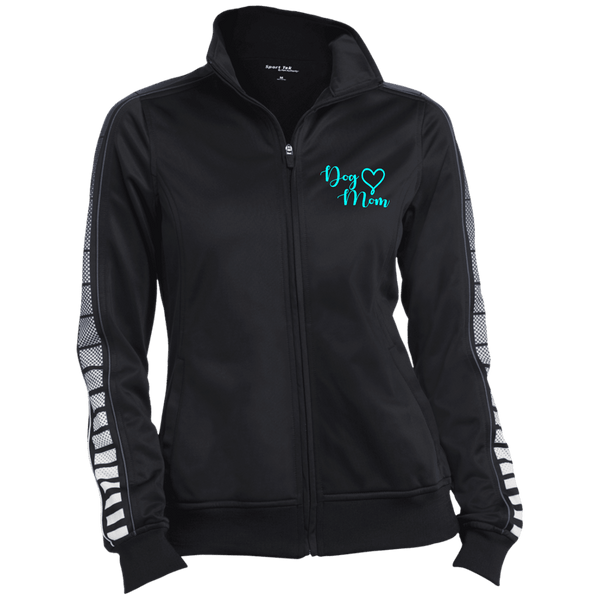 Dog Mom Teal Prnt - LST93 Sport-Tek Ladies' Dot Print Warm Up Jacket Black/Iron Grey X-Small - Little Pit Shop
