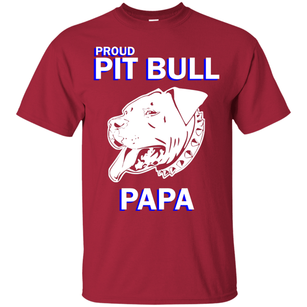 Proud Pit Bull Papa Dk - G200 Gildan Ultra Cotton T-Shirt Cardinal Small - Little Pit Shop