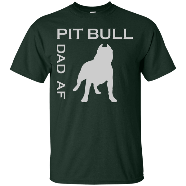 Pit Bull Dad AF - G200 Gildan Ultra Cotton T-Shirt Forest Green Small - Little Pit Shop