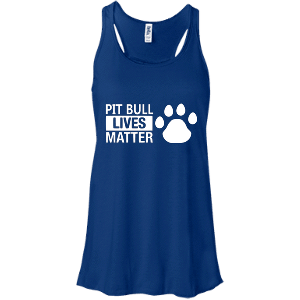 Pit Bull Lives Matter - B8800 Bella + Canvas Flowy Racerback Tank True Royal X-Small - Little Pit Shop
