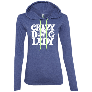 Crazy Dog Lady - 887L Anvil Ladies' LS T-Shirt Hoodie Heather Blue/Neon Yellow Small - Little Pit Shop