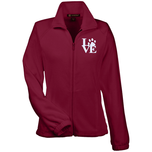 Love Paw Wht Embroidered - M990W Harriton Women's Fleece Jacket Wine X-Small - Little Pit Shop