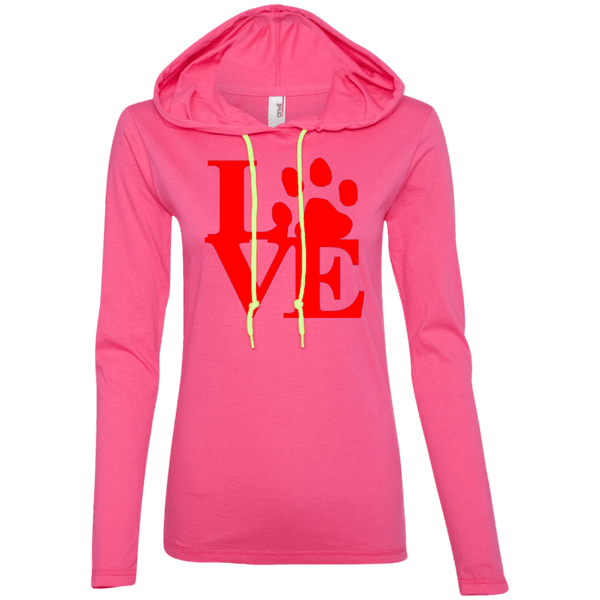 Love - 887L Anvil Ladies' LS T-Shirt Hoodie Hot Pink/Neon Yellow Small - Little Pit Shop