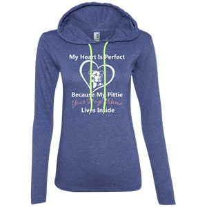My Heart Is Perfect - Personalized - 887L Anvil Ladies' LS T-Shirt Hoodie Heather Blue/Neon Yellow Small - Little Pit Shop