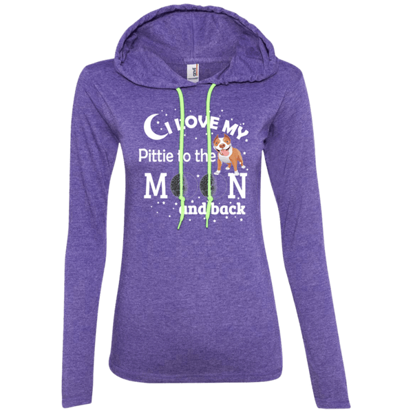 I Love My Pittie - 887L Anvil Ladies' LS T-Shirt Hoodie Heather Purple/Neon Yellow Small - Little Pit Shop