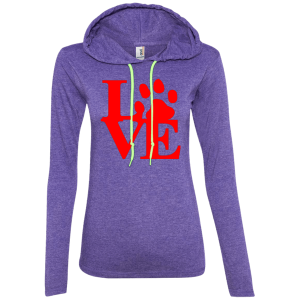 Love - 887L Anvil Ladies' LS T-Shirt Hoodie Heather Purple/Neon Yellow Small - Little Pit Shop