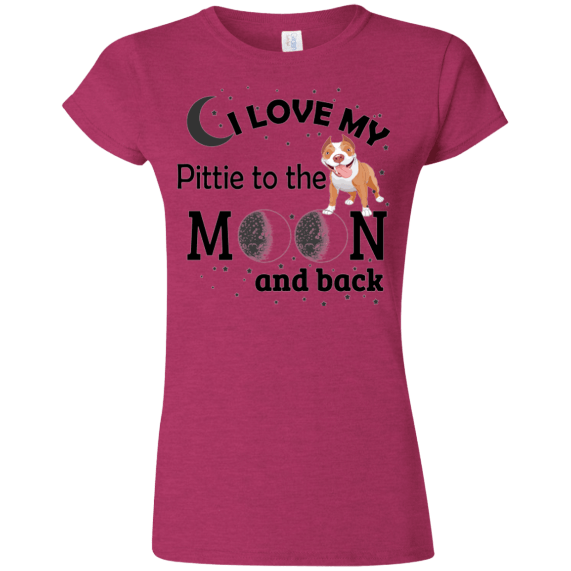 I Love My Pittie - G640L Gildan Softstyle Ladies' T-Shirt Light Antique Heliconia Small - Little Pit Shop