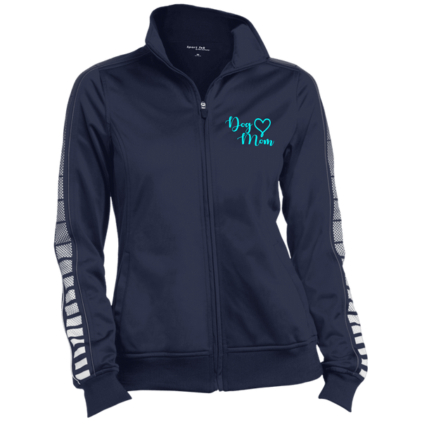 Dog Mom Teal Prnt - LST93 Sport-Tek Ladies' Dot Print Warm Up Jacket True Navy/Iron Grey X-Small - Little Pit Shop