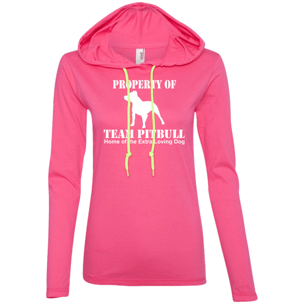 Team Pit Bull - 887L Anvil Ladies' LS T-Shirt Hoodie Hot Pink/Neon Yellow Small - Little Pit Shop
