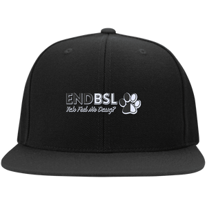 End BSL - STC19 Sport-Tek Flat Bill High-Profile Snapback Hat By Little Pit Shop Black One Size - Little Pit Shop
