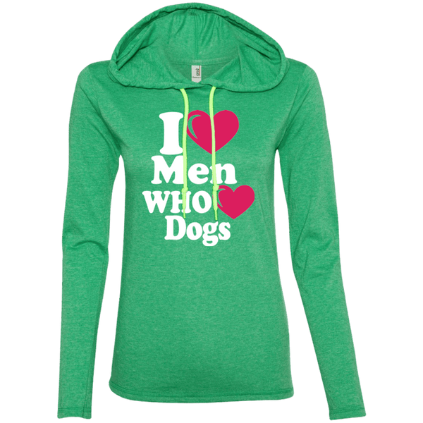 I Heart Men Who Heart Dogs - 887L Anvil Ladies' LS T-Shirt Hoodie Heather Green/Neon Yellow Small - Little Pit Shop