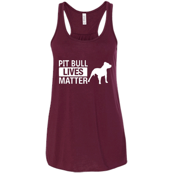 Pit Bull Lives Matter - B8800 Bella + Canvas Flowy Racerback Tank Maroon X-Small - Little Pit Shop