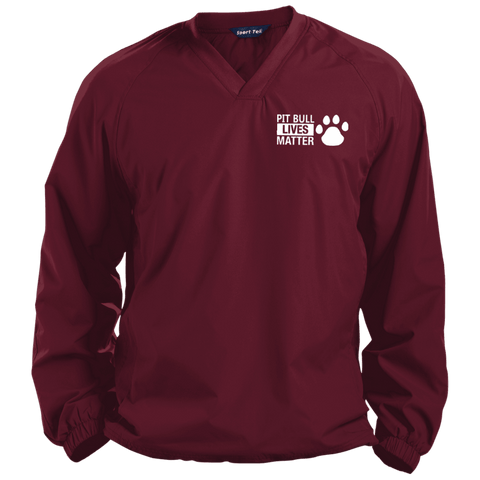 Pit Bull Lives Matter - JST72 Sport-Tek Pullover V-Neck Windshirt by Little Pit Shop Maroon X-Small - Little Pit Shop