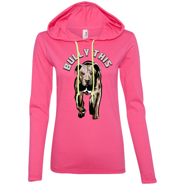 Bully This! - 887L Anvil Ladies' LS T-Shirt Hoodie Hot Pink/Neon Yellow Small - Little Pit Shop