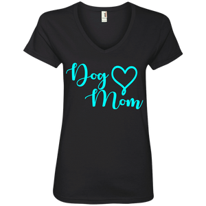 Dog Mom Teal Text - 88VL Anvil Ladies' V-Neck T-Shirt, T-Shirts | Pit Bull T Shirts, Hoodies and more | Little Pit Shop