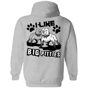 I Like Big Pitties Back Print Drk - G185 Gildan Pullover Hoodie 8 oz. Sport Grey Small - Little Pit Shop