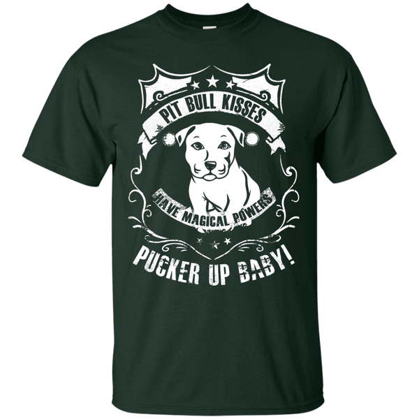Pit Bull Kisses - G200 Gildan Ultra Cotton T-Shirt by Little Pit Shop Forest Green Small - Little Pit Shop