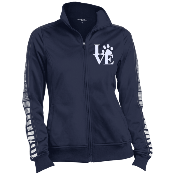 Love Paw Wht Embroidered - LST93 Sport-Tek Ladies' Dot Print Warm Up Jacket True Navy/Iron Grey X-Small - Little Pit Shop