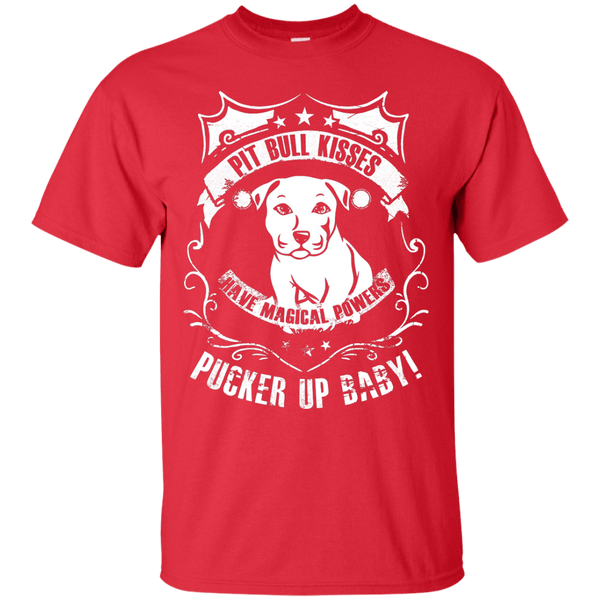 Pit Bull Kisses - G200 Gildan Ultra Cotton T-Shirt by Little Pit Shop Red Small - Little Pit Shop