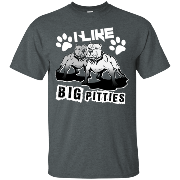 I Like Big Pitties Lt - G200 Gildan Ultra Cotton T-Shirt Dark Heather Small - Little Pit Shop