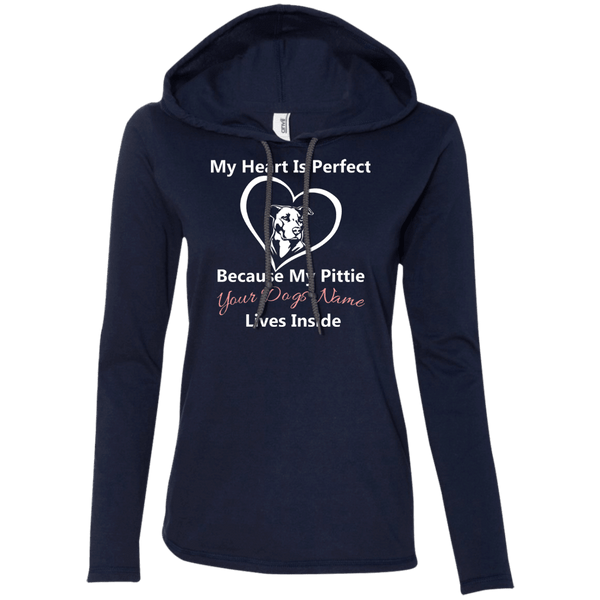 My Heart Is Perfect - Personalized - 887L Anvil Ladies' LS T-Shirt Hoodie Navy/Dark Grey Small - Little Pit Shop