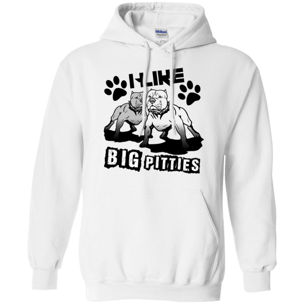 I Like Big Pitties Drk - G185 Gildan Pullover Hoodie 8 oz. White Small - Little Pit Shop
