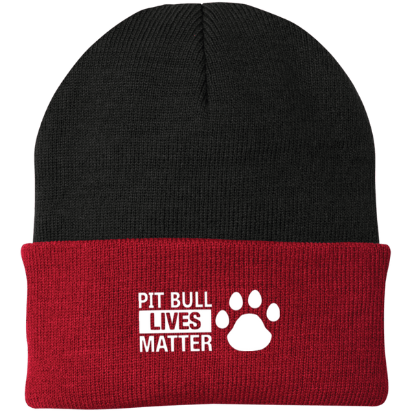 Pit Bull Lives Matter - CP90 Port Authority Knit Cap by Little Pit Shop Black/Athletic Red One Size - Little Pit Shop