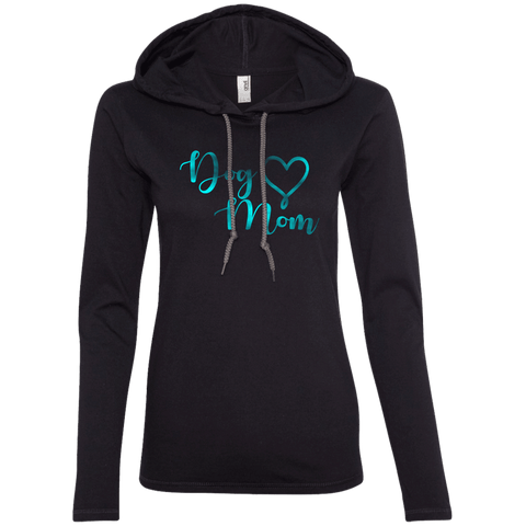 Dog Mom Teal Noise - 887L Anvil Ladies' LS T-Shirt Hoodie Black/Dark Grey Small - Little Pit Shop