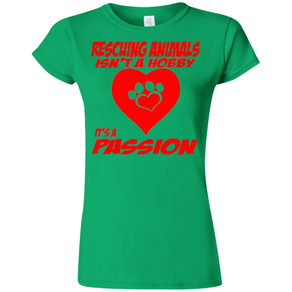Rescuing Animals - G640L Gildan Softstyle Ladies' T-Shirt Irish Green Small - Little Pit Shop