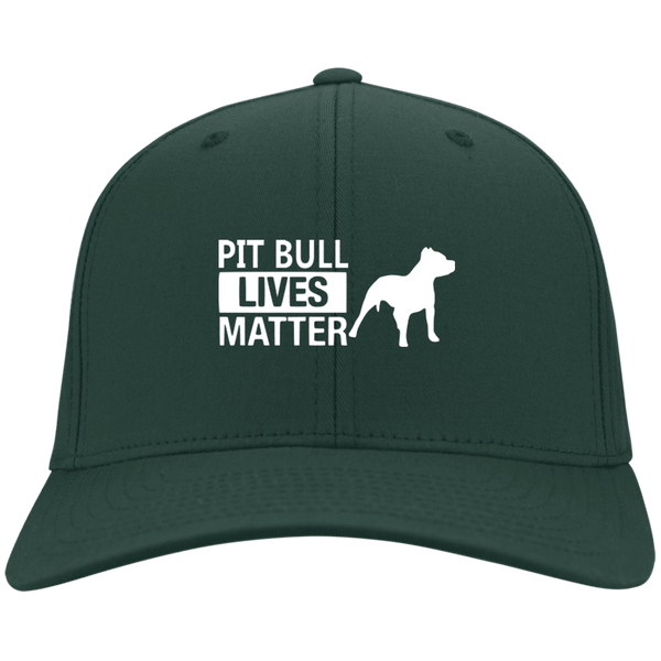 Pit Bull Lives Matter- CP80 Port & Co. Twill Cap By Little Pit Shop Hunter Green One Size - Little Pit Shop
