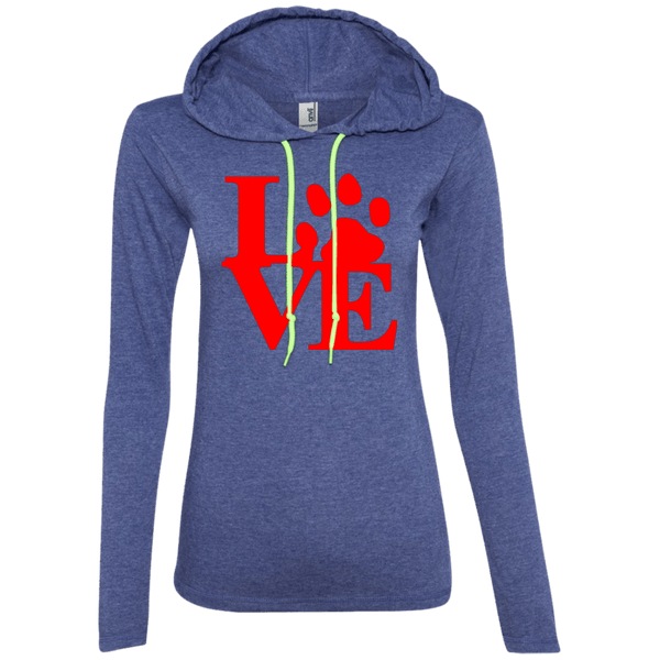 Love - 887L Anvil Ladies' LS T-Shirt Hoodie Heather Blue/Neon Yellow Small - Little Pit Shop