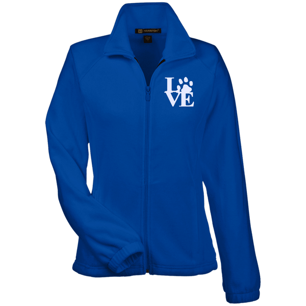 Love Paw Wht Embroidered - M990W Harriton Women's Fleece Jacket True Royal X-Small - Little Pit Shop
