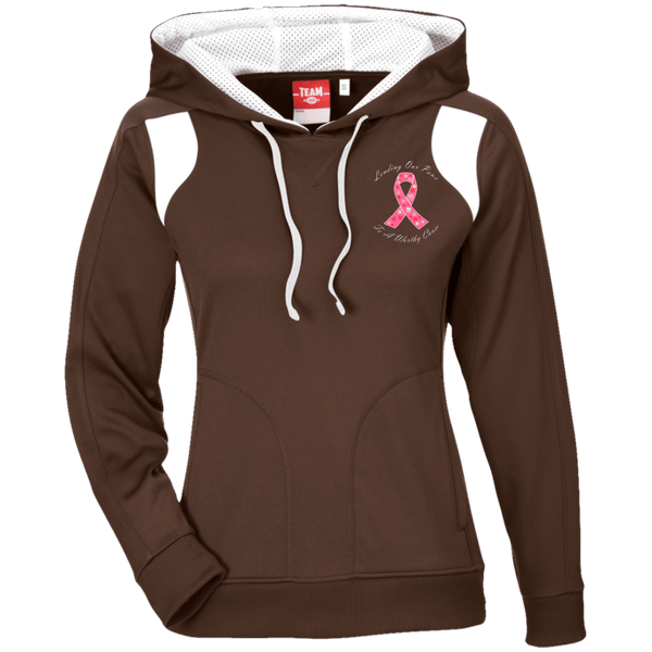 Lending Our Paws - TT30W Team 365 Ladies' Colorblock Poly Hoodie By Little Pit Shop Brown/White X-Small - Little Pit Shop